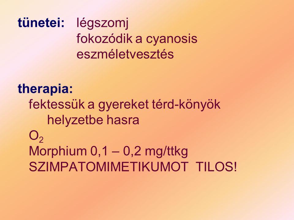 tünetei:légszomj fokozódik a cyanosis eszméletvesztés therapia: fektessük a gyereket térd-könyök helyzetbe hasra O 2 Morphium 0,1 – 0,2 mg/ttkg SZIMPA