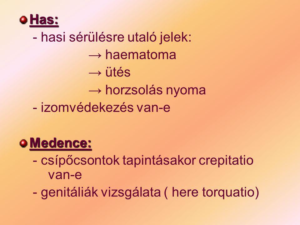 Has: - hasi sérülésre utaló jelek: → haematoma → ütés → horzsolás nyoma - izomvédekezés van-eMedence: - csípőcsontok tapintásakor crepitatio van-e - g
