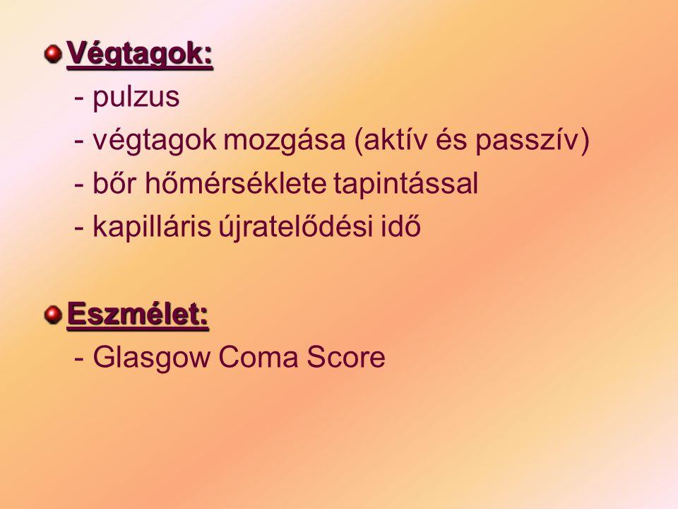 Végtagok: - pulzus - végtagok mozgása (aktív és passzív) - bőr hőmérséklete tapintással - kapilláris újratelődési idő Eszmélet: - Glasgow Coma Score