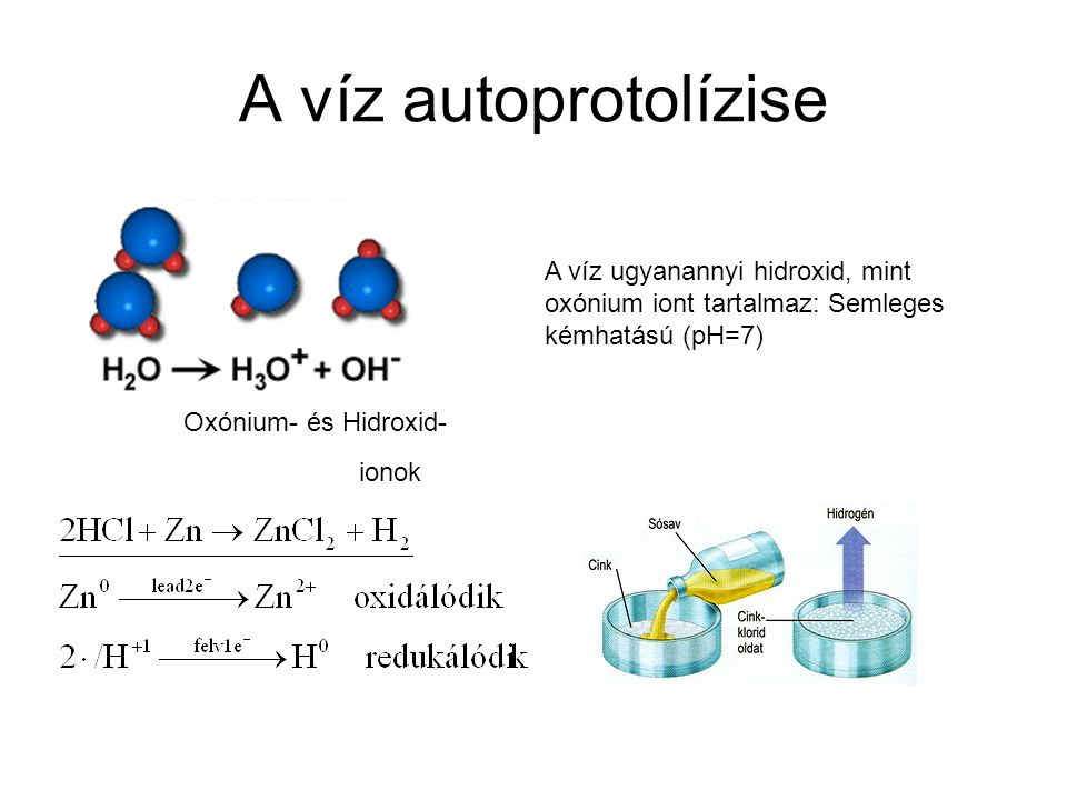 A víz autoprotolízise A víz ugyanannyi hidroxid, mint oxónium iont tartalmaz: Semleges kémhatású (pH=7) Hidroxid-Oxónium- és ionok