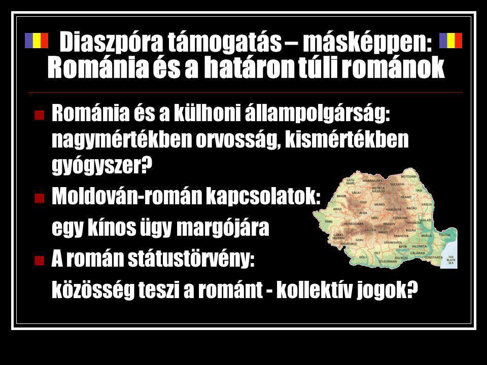 Diaszpóra támogatás – másképpen: Románia és a határon túli románok Románia és a külhoni állampolgárság: nagymértékben orvosság, kismértékben gyógyszer.