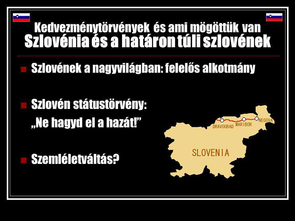 """Kedvezménytörvények és ami mögöttük van Szlovénia és a határon túli szlovének Szlovének a nagyvilágban: felelős alkotmány Szlovén státustörvény: """"Ne hagyd el a hazát! Szemléletváltás"""