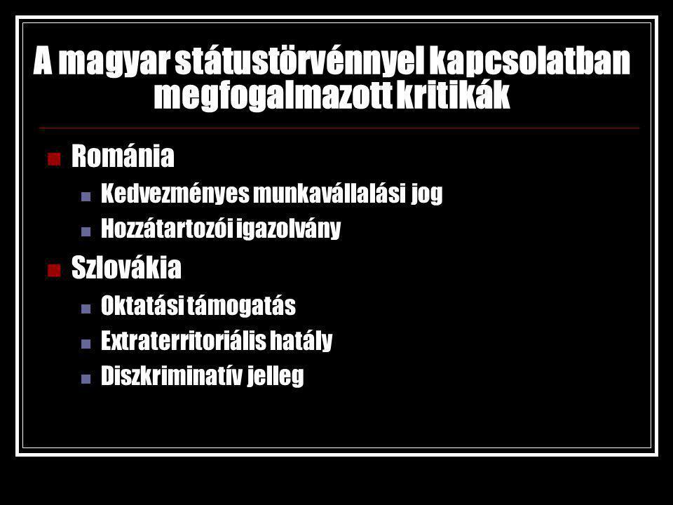 A magyar státustörvénnyel kapcsolatban megfogalmazott kritikák Románia Kedvezményes munkavállalási jog Hozzátartozói igazolvány Szlovákia Oktatási támogatás Extraterritoriális hatály Diszkriminatív jelleg