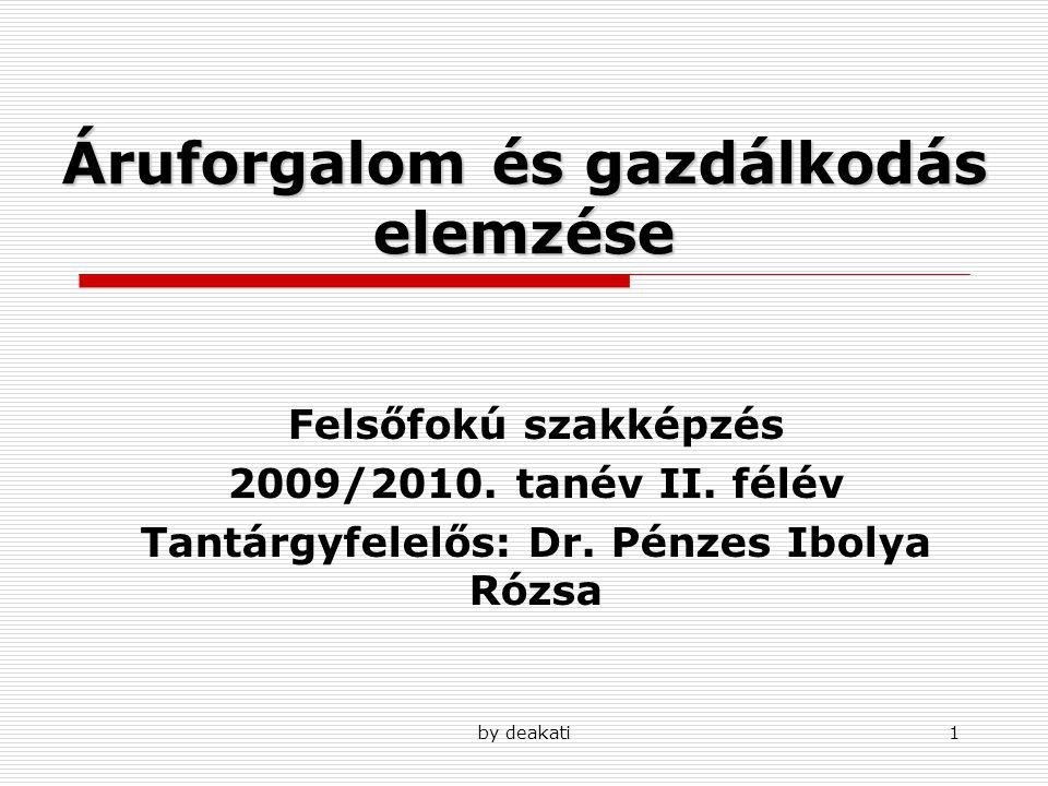 by deakati1 Áruforgalom és gazdálkodás elemzése Felsőfokú szakképzés 2009/2010. tanév II. félév Tantárgyfelelős: Dr. Pénzes Ibolya Rózsa