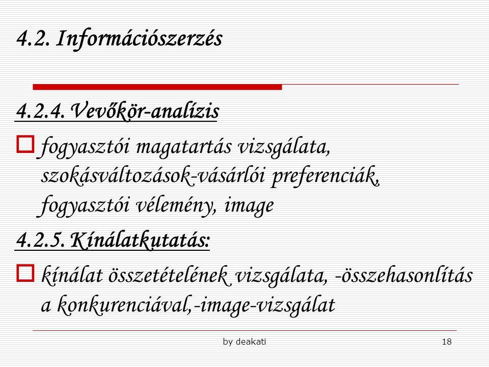 by deakati18 4.2. Információszerzés 4.2.4. Vevőkör-analízis  fogyasztói magatartás vizsgálata, szokásváltozások-vásárlói preferenciák, fogyasztói vél