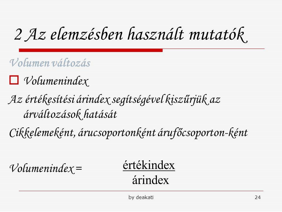 by deakati24 2 Az elemzésben használt mutatók Volumen változás  Volumenindex Az értékesítési árindex segítségével kiszűrjük az árváltozások hatását C