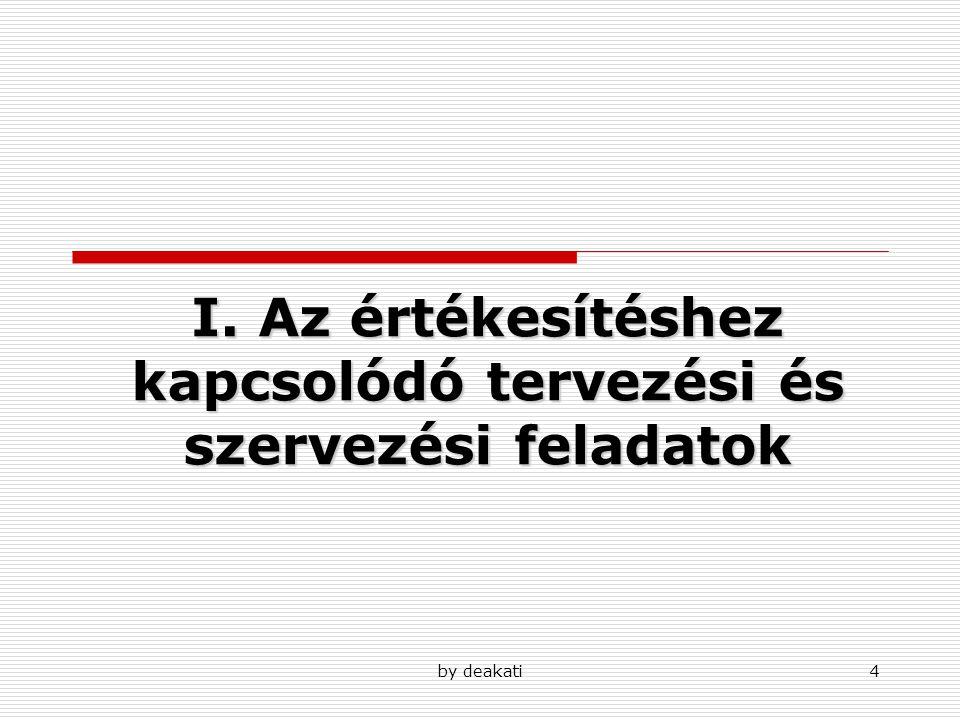 by deakati4 I. Az értékesítéshez kapcsolódó tervezési és szervezési feladatok