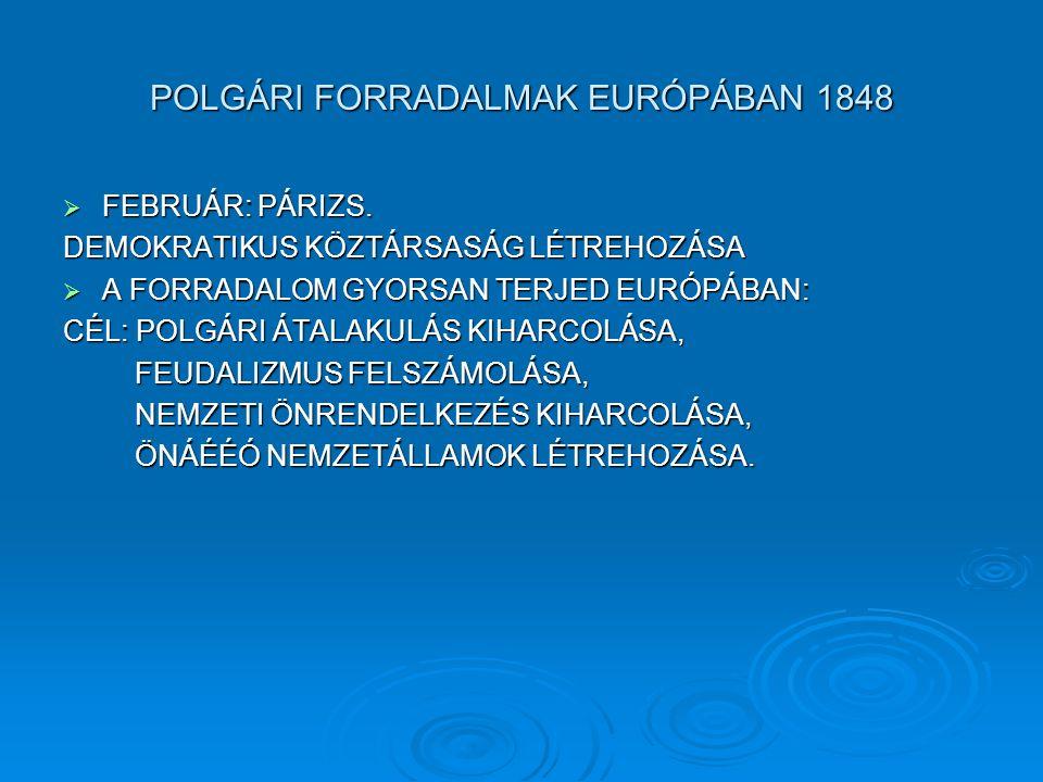 POLGÁRI FORRADALMAK EURÓPÁBAN 1848  FEBRUÁR: PÁRIZS.