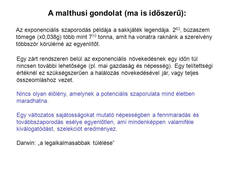 A malthusi gondolat (ma is időszerű): Egy zárt rendszeren belül az exponenciális növekedésnek egy időn túl nincsen további lehetősége (pl. mai gazdasá