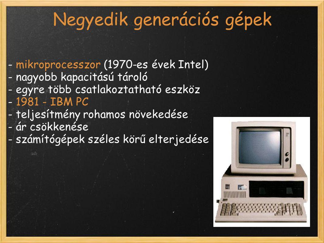 Negyedik generációs gépek - mikroprocesszor (1970-es évek Intel) - nagyobb kapacitású tároló - egyre több csatlakoztatható eszköz - 1981 - IBM PC - teljesítmény rohamos növekedése - ár csökkenése - számítógépek széles körű elterjedése