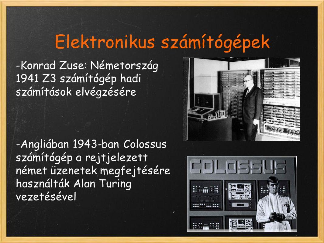 Elektronikus számítógépek -Konrad Zuse: Németország 1941 Z3 számítógép hadi számítások elvégzésére -Angliában 1943-ban Colossus számítógép a rejtjelezett német üzenetek megfejtésére használták Alan Turing vezetésével