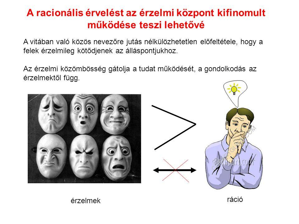 érzelmek ráció A racionális érvelést az érzelmi központ kifinomult működése teszi lehetővé A vitában való közös nevezőre jutás nélkülözhetetlen előfel