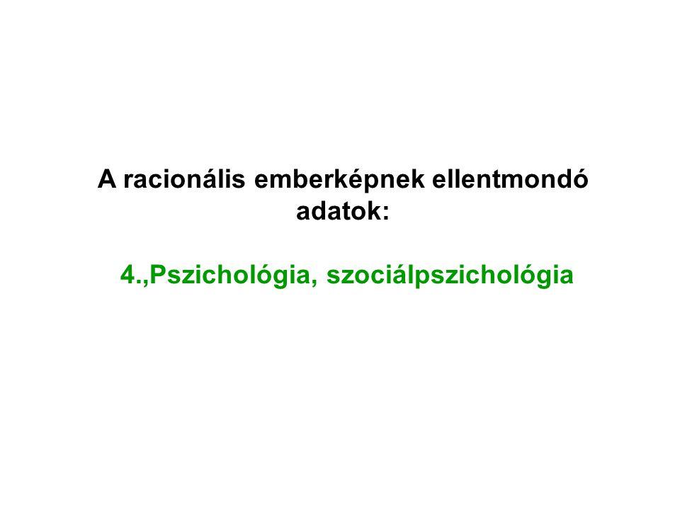 A racionális emberképnek ellentmondó adatok: 4.,Pszichológia, szociálpszichológia