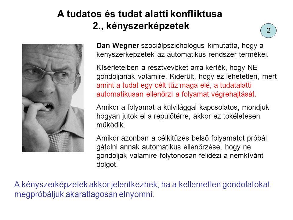 A tudatos és tudat alatti konfliktusa 2., kényszerképzetek Dan Wegner szociálpszichológus kimutatta, hogy a kényszerképzetek az automatikus rendszer t