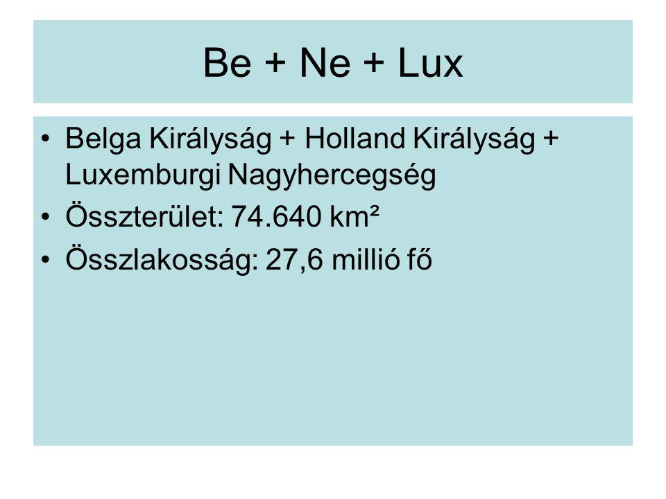 Be + Ne + Lux Belga Királyság + Holland Királyság + Luxemburgi Nagyhercegség Összterület: 74.640 km² Összlakosság: 27,6 millió fő
