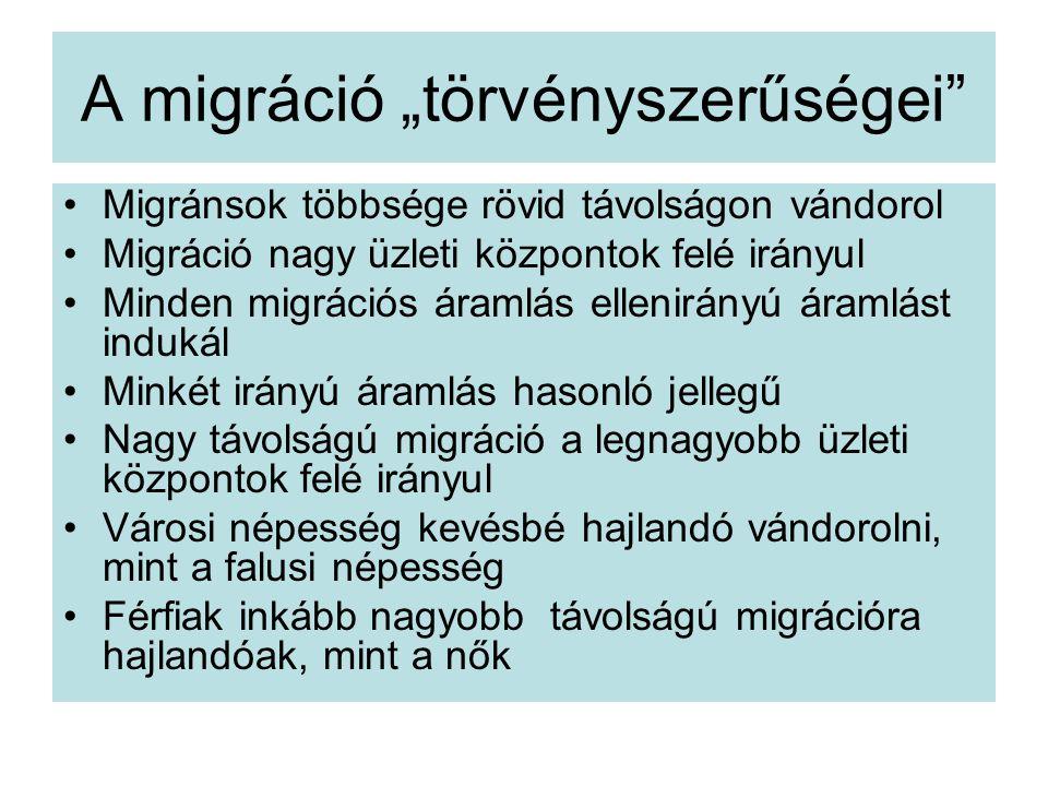 """A migráció """"törvényszerűségei Migránsok többsége rövid távolságon vándorol Migráció nagy üzleti központok felé irányul Minden migrációs áramlás ellenirányú áramlást indukál Minkét irányú áramlás hasonló jellegű Nagy távolságú migráció a legnagyobb üzleti központok felé irányul Városi népesség kevésbé hajlandó vándorolni, mint a falusi népesség Férfiak inkább nagyobb távolságú migrációra hajlandóak, mint a nők"""