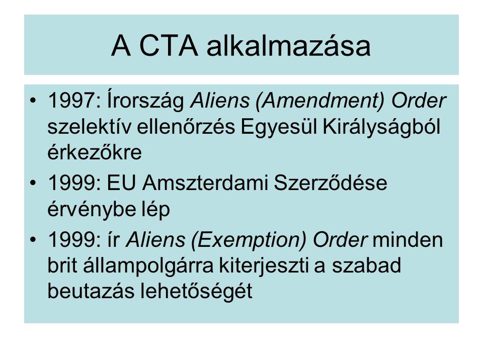A CTA alkalmazása 1997: Írország Aliens (Amendment) Order szelektív ellenőrzés Egyesül Királyságból érkezőkre 1999: EU Amszterdami Szerződése érvénybe lép 1999: ír Aliens (Exemption) Order minden brit állampolgárra kiterjeszti a szabad beutazás lehetőségét
