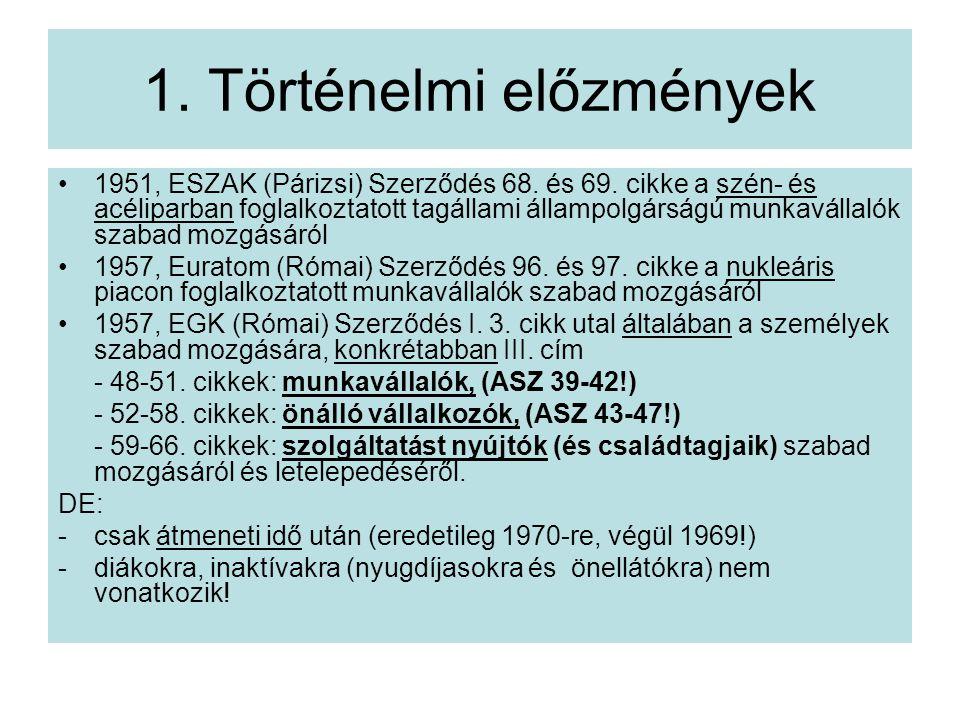 1.Történelmi előzmények 1951, ESZAK (Párizsi) Szerződés 68.
