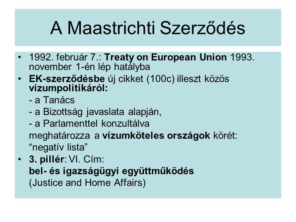 A Maastrichti Szerződés 1992.február 7.: Treaty on European Union 1993.