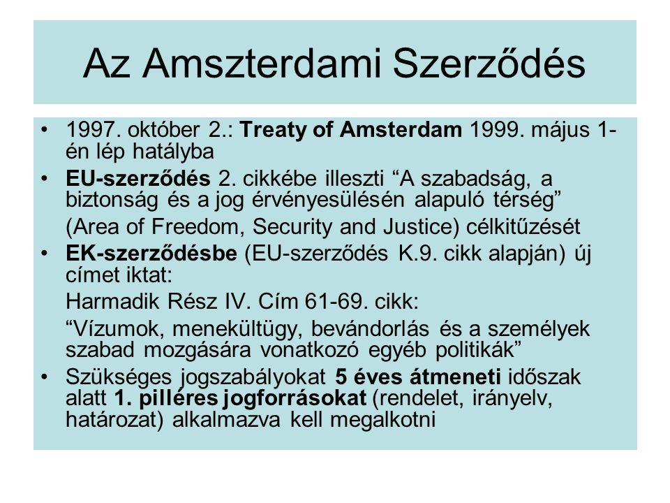 Az Amszterdami Szerződés 1997.október 2.: Treaty of Amsterdam 1999.