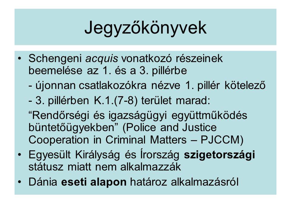 Jegyzőkönyvek Schengeni acquis vonatkozó részeinek beemelése az 1.