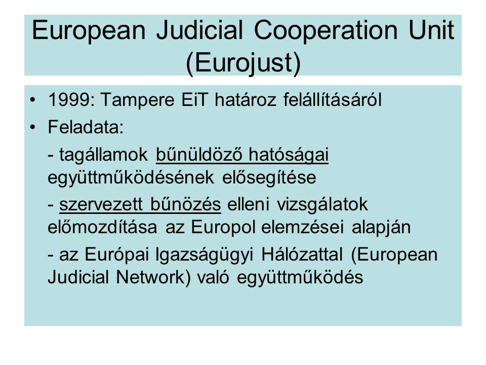 European Judicial Cooperation Unit (Eurojust) 1999: Tampere EiT határoz felállításáról Feladata: - tagállamok bűnüldöző hatóságai együttműködésének elősegítése - szervezett bűnözés elleni vizsgálatok előmozdítása az Europol elemzései alapján - az Európai Igazságügyi Hálózattal (European Judicial Network) való együttműködés