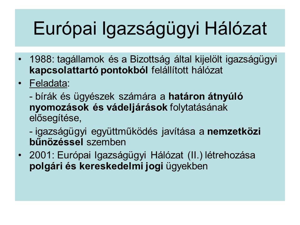 Európai Igazságügyi Hálózat 1988: tagállamok és a Bizottság által kijelölt igazságügyi kapcsolattartó pontokból felállított hálózat Feladata: - bírák és ügyészek számára a határon átnyúló nyomozások és vádeljárások folytatásának elősegítése, - igazságügyi együttműködés javítása a nemzetközi bűnözéssel szemben 2001: Európai Igazságügyi Hálózat (II.) létrehozása polgári és kereskedelmi jogi ügyekben
