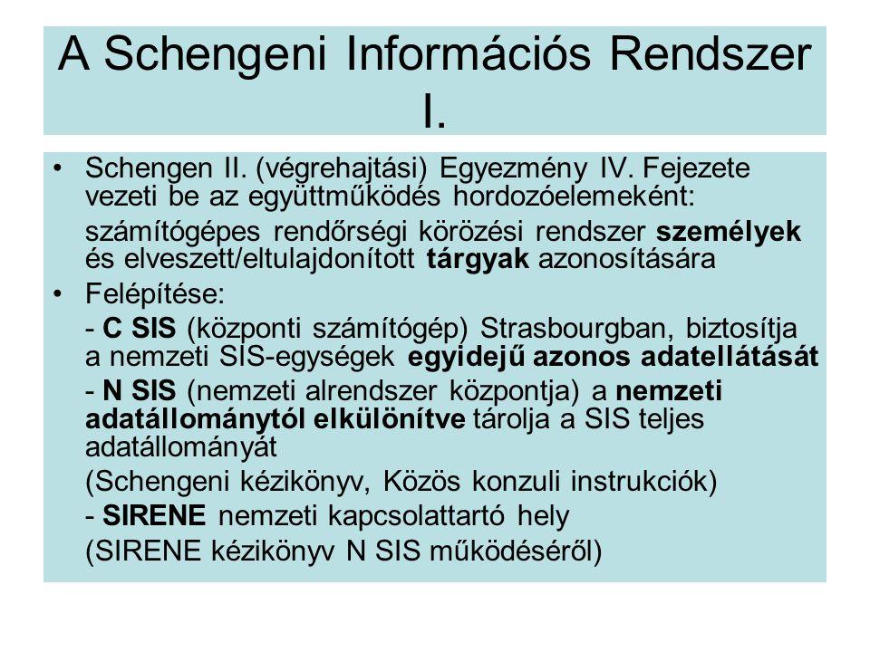 A Schengeni Információs Rendszer I.Schengen II. (végrehajtási) Egyezmény IV.