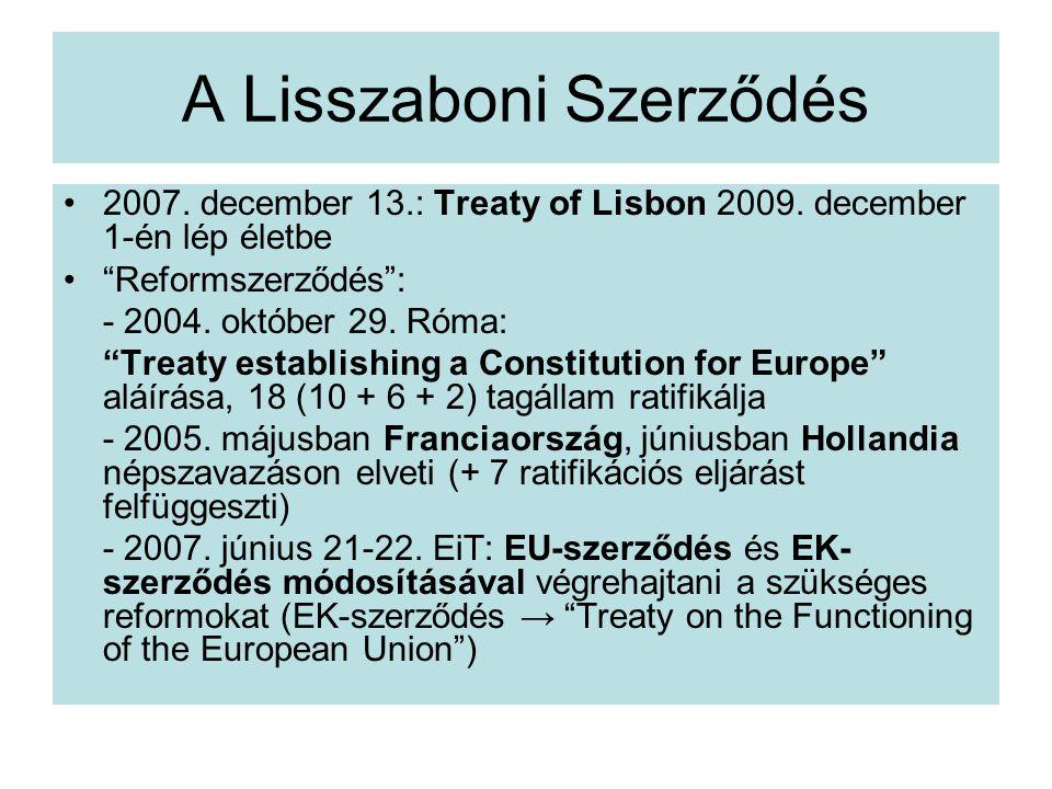 A Lisszaboni Szerződés 2007.december 13.: Treaty of Lisbon 2009.