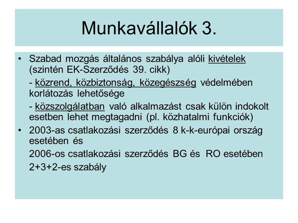 Munkavállalók 3.Szabad mozgás általános szabálya alóli kivételek (szintén EK-Szerződés 39.
