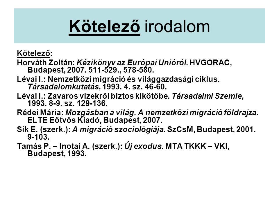 Kötelező irodalom Kötelező: Horváth Zoltán: Kézikönyv az Európai Unióról.