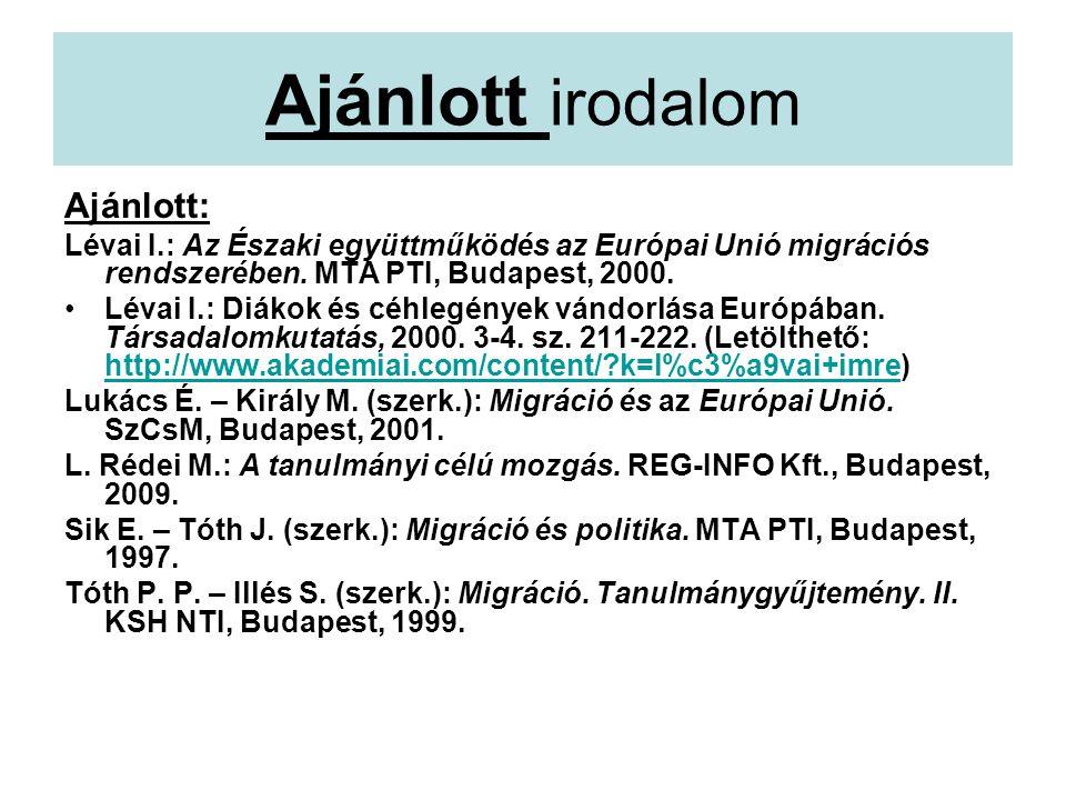 Ajánlott irodalom Ajánlott: Lévai I.: Az Északi együttműködés az Európai Unió migrációs rendszerében.