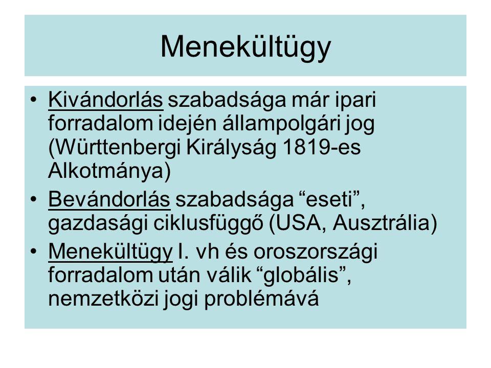 Menekültügy Kivándorlás szabadsága már ipari forradalom idején állampolgári jog (Württenbergi Királyság 1819-es Alkotmánya) Bevándorlás szabadsága eseti , gazdasági ciklusfüggő (USA, Ausztrália) Menekültügy I.