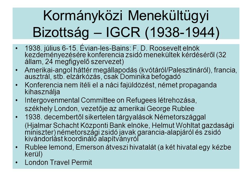 Kormányközi Menekültügyi Bizottság – IGCR (1938-1944) 1938.