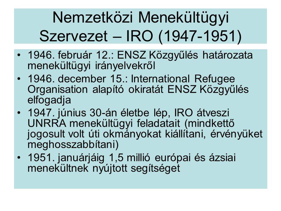 Nemzetközi Menekültügyi Szervezet – IRO (1947-1951) 1946.
