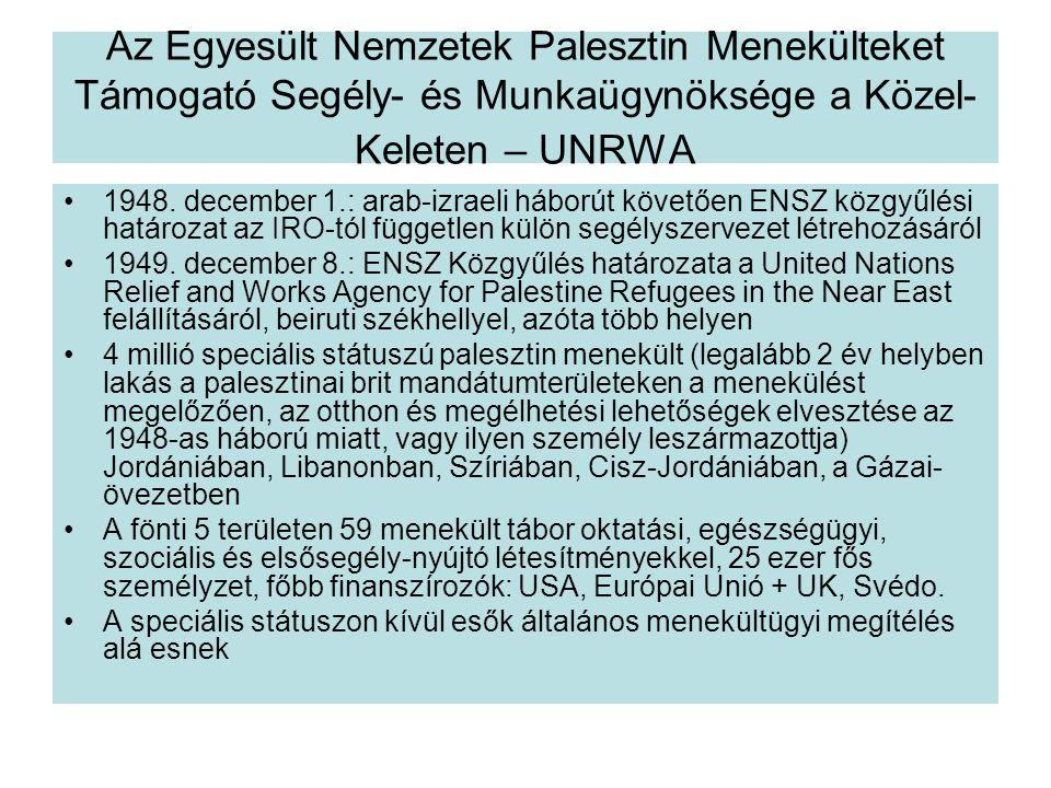 Az Egyesült Nemzetek Palesztin Menekülteket Támogató Segély- és Munkaügynöksége a Közel- Keleten – UNRWA 1948.