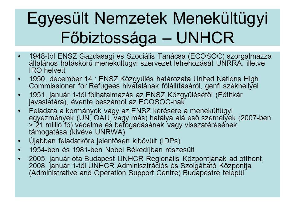 Egyesült Nemzetek Menekültügyi Főbiztossága – UNHCR 1948-tól ENSZ Gazdasági és Szociális Tanácsa (ECOSOC) szorgalmazza általános hatáskörű menekültügyi szervezet létrehozását UNRRA, illetve IRO helyett 1950.