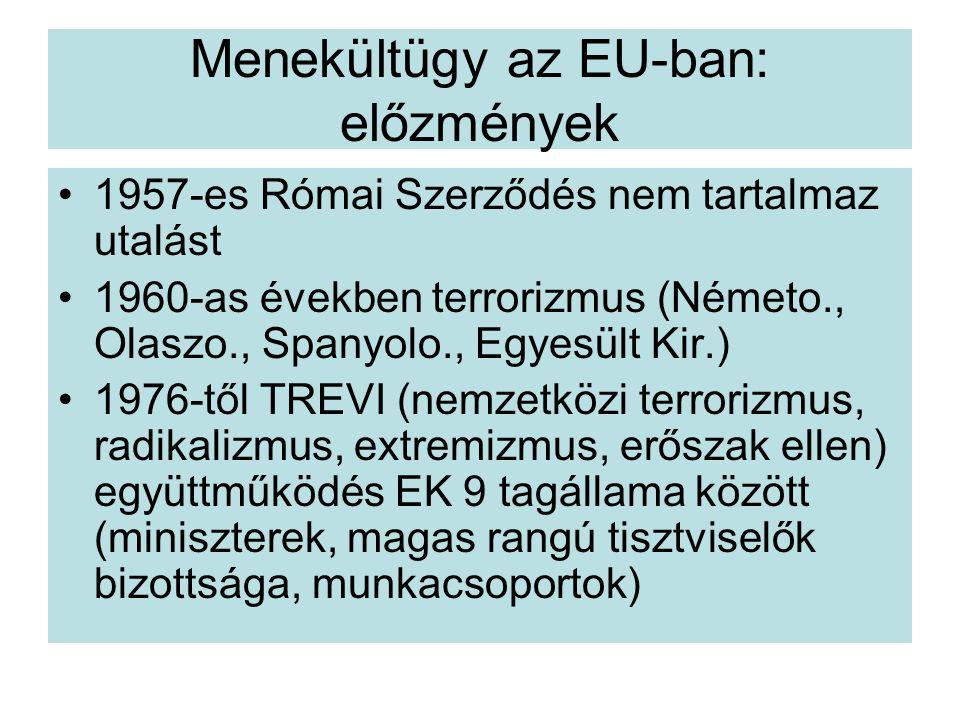 Menekültügy az EU-ban: előzmények 1957-es Római Szerződés nem tartalmaz utalást 1960-as években terrorizmus (Németo., Olaszo., Spanyolo., Egyesült Kir.) 1976-től TREVI (nemzetközi terrorizmus, radikalizmus, extremizmus, erőszak ellen) együttműködés EK 9 tagállama között (miniszterek, magas rangú tisztviselők bizottsága, munkacsoportok)