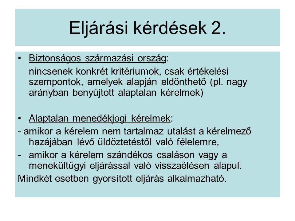 Eljárási kérdések 2.