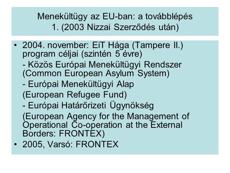 Menekültügy az EU-ban: a továbblépés 1.(2003 Nizzai Szerződés után) 2004.