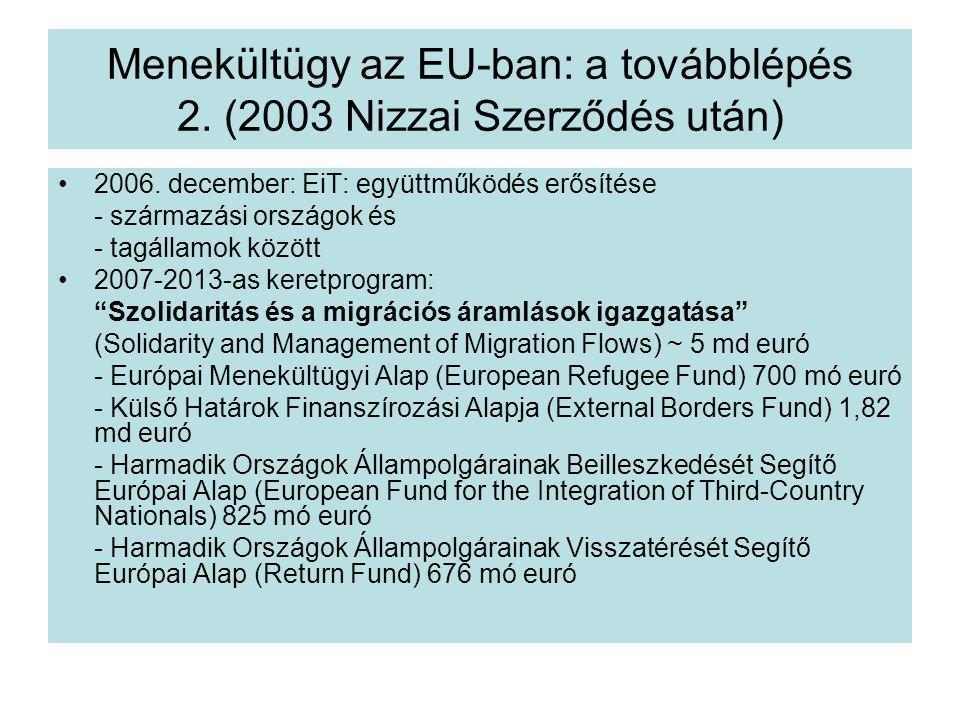 Menekültügy az EU-ban: a továbblépés 2.(2003 Nizzai Szerződés után) 2006.