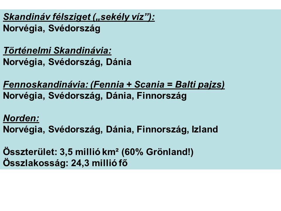 """Skandináv félsziget (""""sekély víz ): Norvégia, Svédország Történelmi Skandinávia: Norvégia, Svédország, Dánia Fennoskandinávia: (Fennia + Scania = Balti pajzs) Norvégia, Svédország, Dánia, Finnország Norden: Norvégia, Svédország, Dánia, Finnország, Izland Összterület: 3,5 millió km² (60% Grönland!) Összlakosság: 24,3 millió fő"""