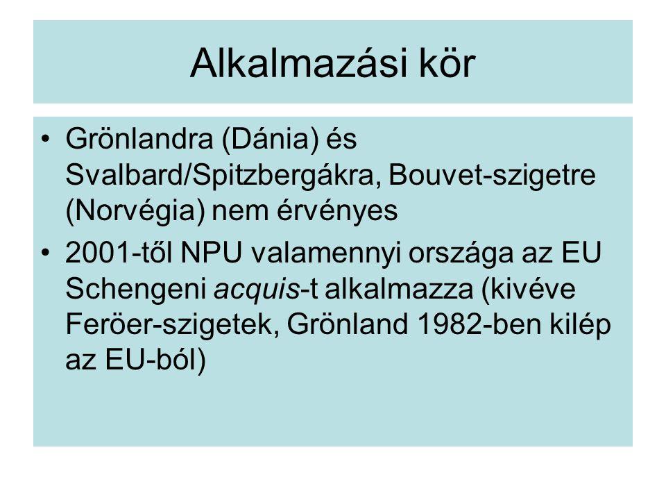 Alkalmazási kör Grönlandra (Dánia) és Svalbard/Spitzbergákra, Bouvet-szigetre (Norvégia) nem érvényes 2001-től NPU valamennyi országa az EU Schengeni acquis-t alkalmazza (kivéve Feröer-szigetek, Grönland 1982-ben kilép az EU-ból)
