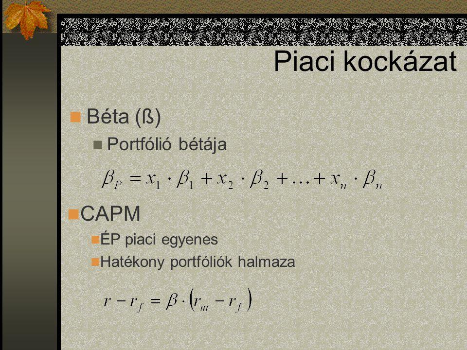 Piaci kockázat Béta (ß) Portfólió bétája CAPM ÉP piaci egyenes Hatékony portfóliók halmaza