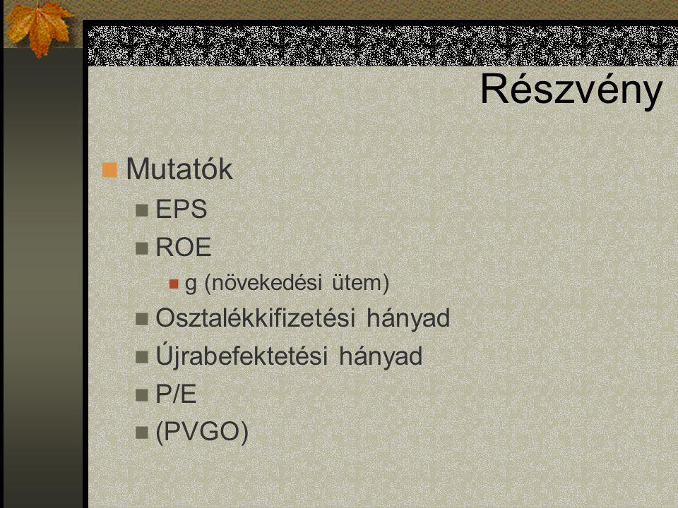 Részvény Mutatók EPS ROE g (növekedési ütem) Osztalékkifizetési hányad Újrabefektetési hányad P/E (PVGO)