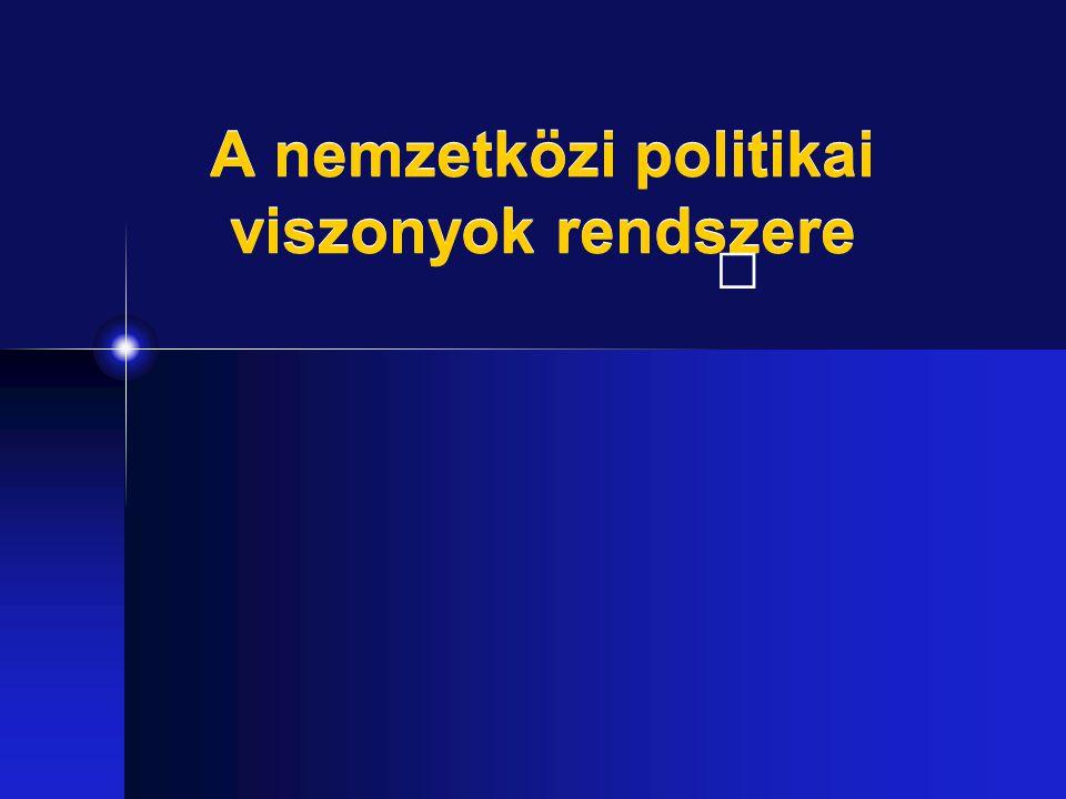 Kötelező irodalom Egedy Gergey: Bevezetés a nemzetközi kapcsolatok elméletébe (HVG-Orac, 2007) Bayer József: A politikatudomány alapjai III.