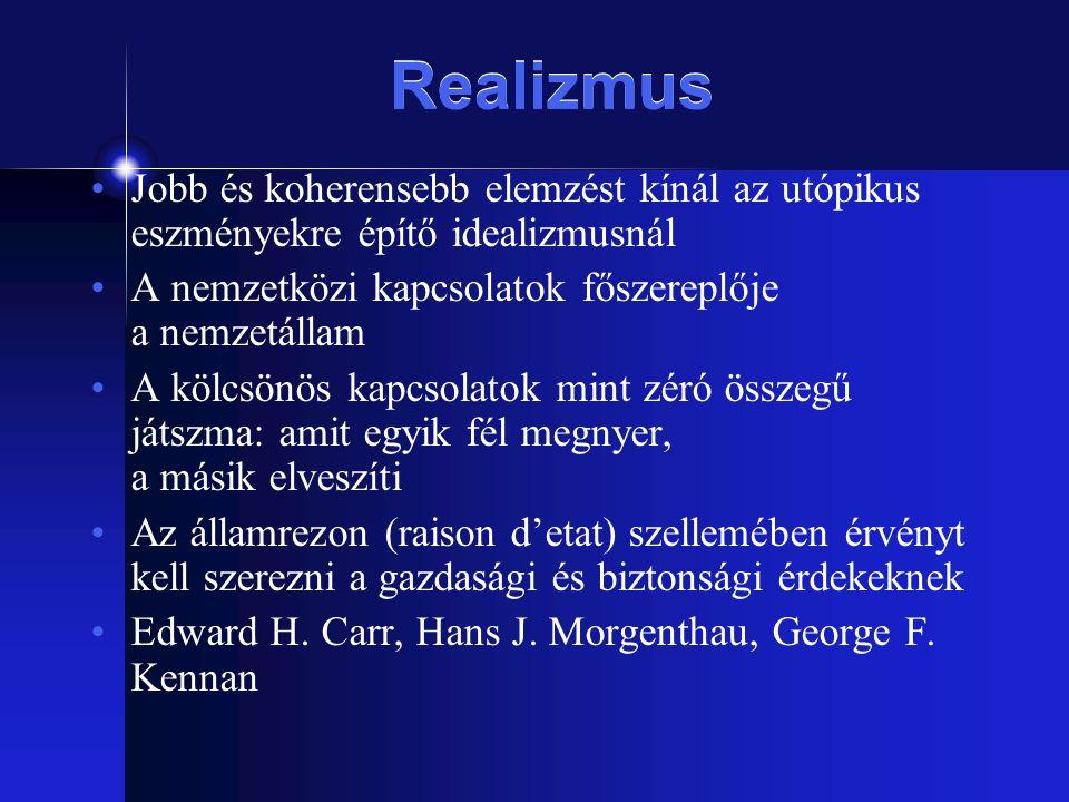 Realizmus Jobb és koherensebb elemzést kínál az utópikus eszményekre építő idealizmusnál A nemzetközi kapcsolatok főszereplője a nemzetállam A kölcsön