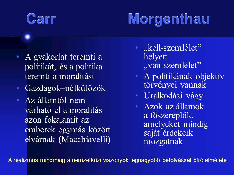 Carr Morgenthau A gyakorlat teremti a politikát, és a politika teremti a moralitást Gazdagok–nélkülözők Az államtól nem várható el a moralitás azon fo