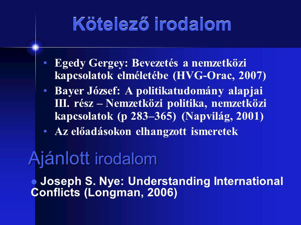 Kötelező irodalom Egedy Gergey: Bevezetés a nemzetközi kapcsolatok elméletébe (HVG-Orac, 2007) Bayer József: A politikatudomány alapjai III. rész – Ne