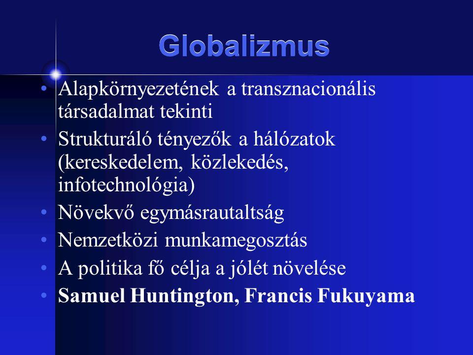 Globalizmus Alapkörnyezetének a transznacionális társadalmat tekinti Strukturáló tényezők a hálózatok (kereskedelem, közlekedés, infotechnológia) Növe